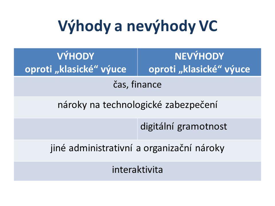 """Výhody a nevýhody VC VÝHODY oproti """"klasické"""" výuce NEVÝHODY oproti """"klasické"""" výuce čas, finance nároky na technologické zabezpečení digitální gramot"""