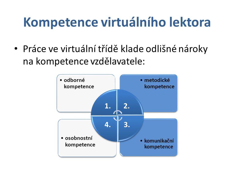 Kompetence virtuálního lektora Práce ve virtuální třídě klade odlišné nároky na kompetence vzdělavatele: komunikační kompetence osobnostní kompetence
