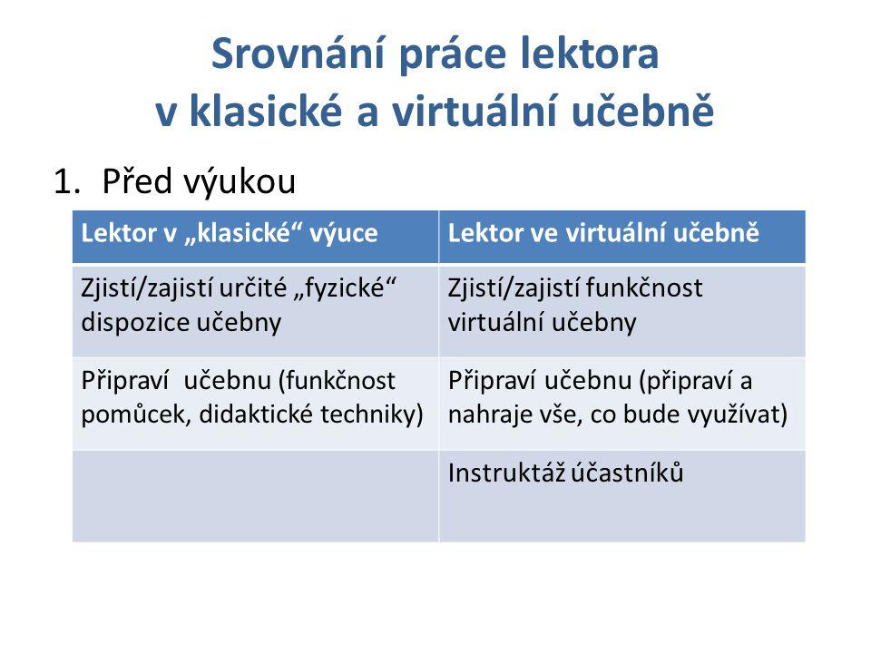 """Srovnání práce lektora v klasické a virtuální učebně 2.Na začátku výuky Lektor v """"klasické výuceLektor ve virtuální učebně Nastavení techniky (sluchátka, mikrofony, prostředí), kontrola spojení a jeho kvality Přestavení lektora, představení účastníků Lektor sdělí cíle výuky, její strukturu a časové rozdělení Lektor sdělí cíle výuky, strukturu, co budou v rámci výuky využívat a potřebovat"""