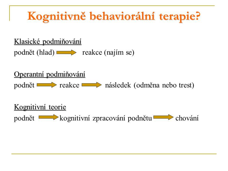 ognitivně behaviorální terapie Kognitivně behaviorální terapie? Klasické podmiňování podnět (hlad) reakce (najím se) Operantní podmiňování podnět reak
