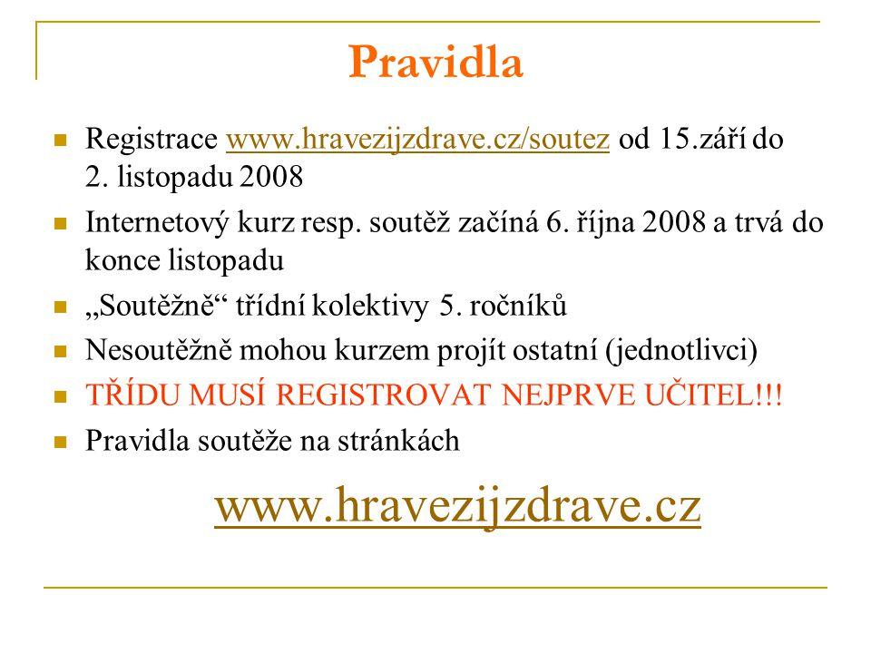 Pravidla Registrace www.hravezijzdrave.cz/soutez od 15.září do 2. listopadu 2008www.hravezijzdrave.cz/soutez Internetový kurz resp. soutěž začíná 6. ř