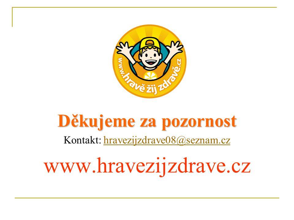 Děkujeme za pozornost Kontakt: hravezijzdrave08@seznam.czhravezijzdrave08@seznam.cz www.hravezijzdrave.cz