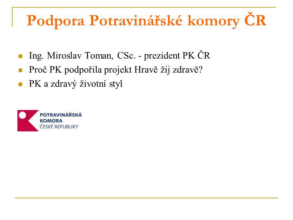 Podpora Potravinářské komory ČR Ing.Miroslav Toman, CSc.
