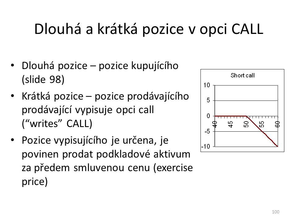 100 Dlouhá a krátká pozice v opci CALL Dlouhá pozice – pozice kupujícího (slide 98) Krátká pozice – pozice prodávajícího prodávající vypisuje opci cal