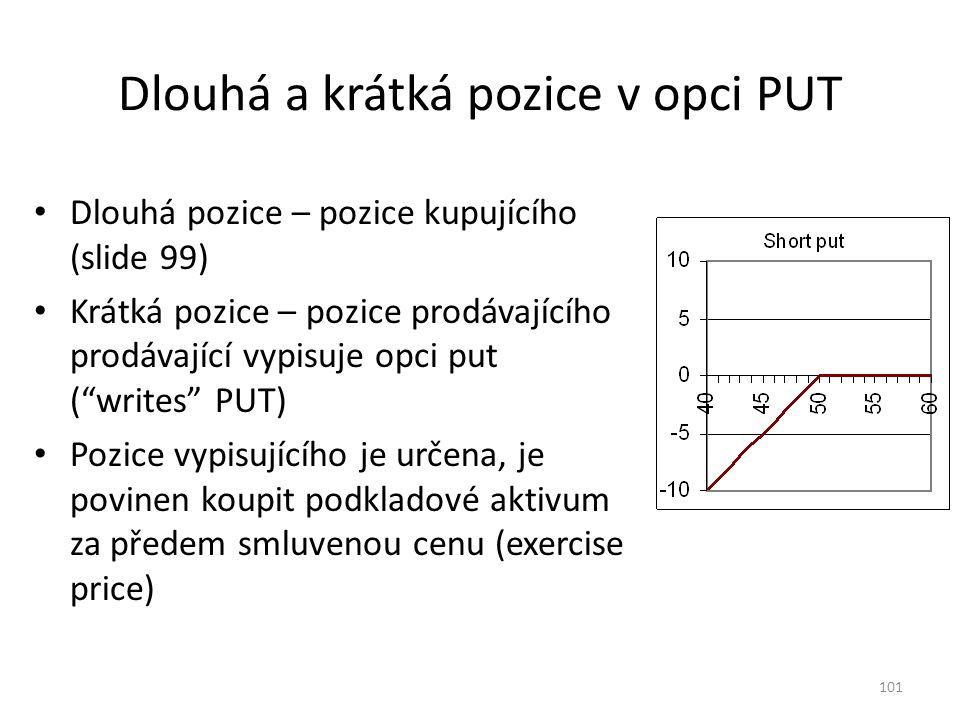101 Dlouhá a krátká pozice v opci PUT Dlouhá pozice – pozice kupujícího (slide 99) Krátká pozice – pozice prodávajícího prodávající vypisuje opci put