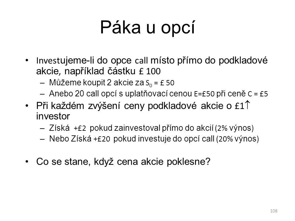 108 Páka u opcí Invest ujeme-li do opce call místo přímo do podkladové akcie, například částku £ 100 –Můžeme koupit 2 akcie za S 0 = £ 50 –Anebo 20 ca