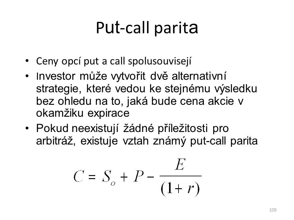 109 P ut -call parit a Ceny opcí put a call spolusouvisejí I nvestor může vytvořit dvě alternativní strategie, které vedou ke stejnému výsledku bez oh