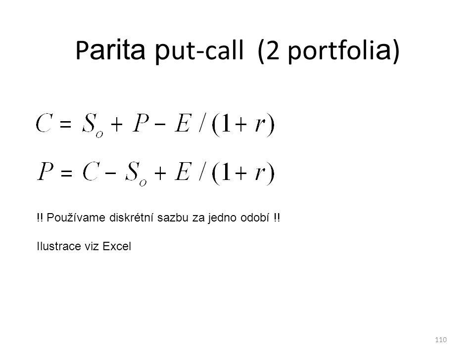110 P arita p ut-call (2 portfoli a ) !! Používame diskrétní sazbu za jedno odobí !! Ilustrace viz Excel
