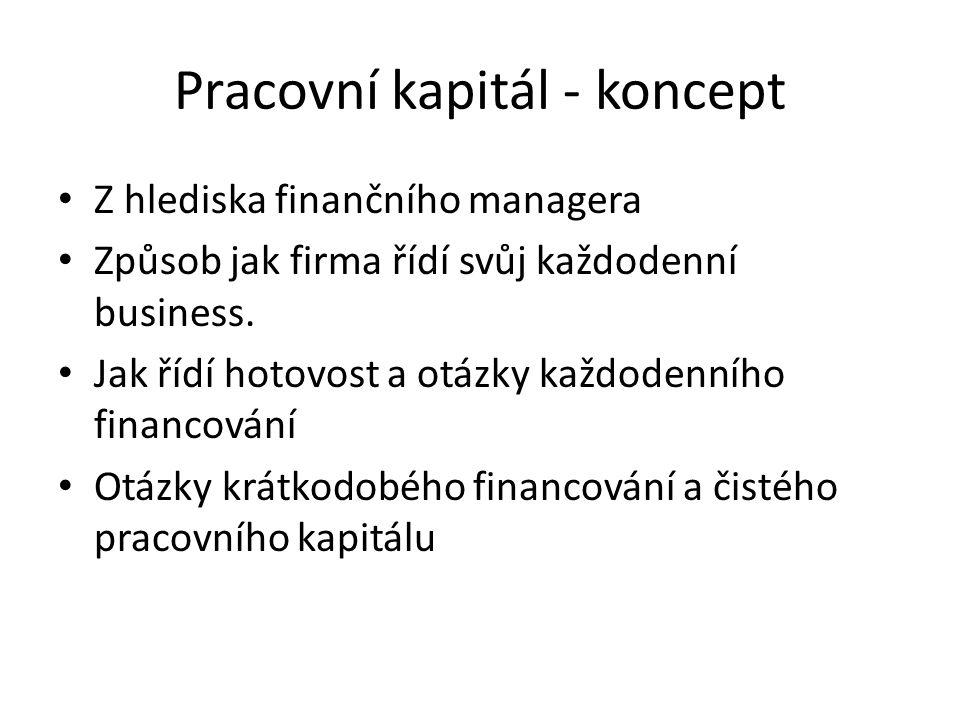 Pracovní kapitál - koncept Z hlediska finančního managera Způsob jak firma řídí svůj každodenní business. Jak řídí hotovost a otázky každodenního fina