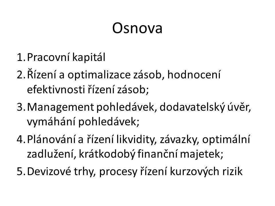 Osnova 1.Pracovní kapitál 2.Řízení a optimalizace zásob, hodnocení efektivnosti řízení zásob; 3.Management pohledávek, dodavatelský úvěr, vymáhání poh