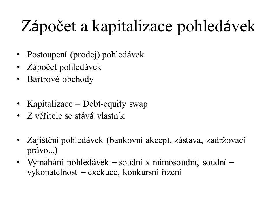 Z á počet a kapitalizace pohled á vek Postoupen í (prodej) pohled á vek Z á počet pohled á vek Bartrov é obchody Kapitalizace = Debt-equity swap Z věř