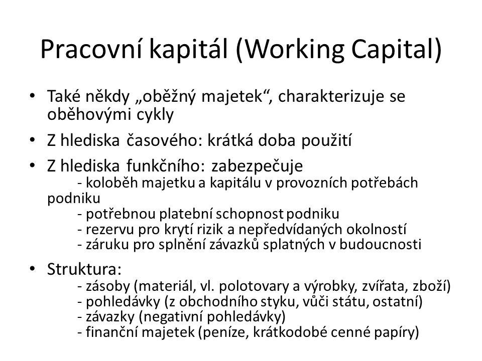 """Pracovní kapitál (Working Capital) Také někdy """"oběžný majetek"""", charakterizuje se oběhovými cykly Z hlediska časového: krátká doba použití Z hlediska"""