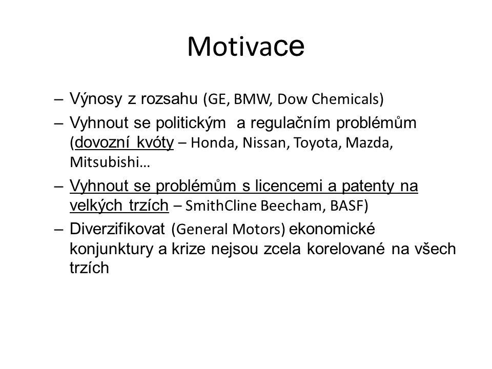 Motiva ce –Výnosy z rozsahu (GE, BMW, Dow Chemicals) –Vyhnout se politickým a regulačním problémům ( dovozní kvóty – Honda, Nissan, Toyota, Mazda, Mit
