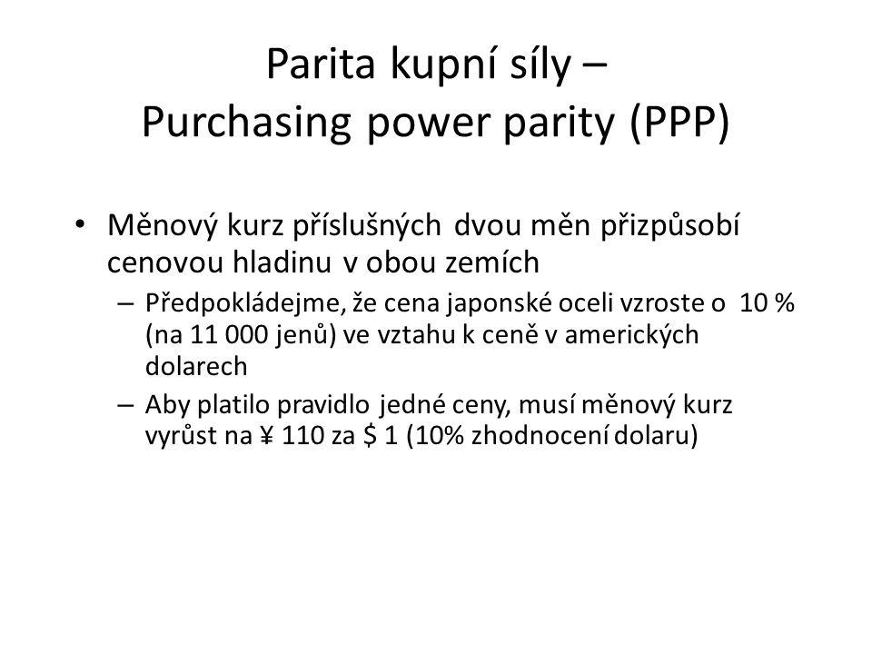 Parita kupní síly – Purchasing power parity (PPP) Měnový kurz příslušných dvou měn přizpůsobí cenovou hladinu v obou zemích – Předpokládejme, že cena