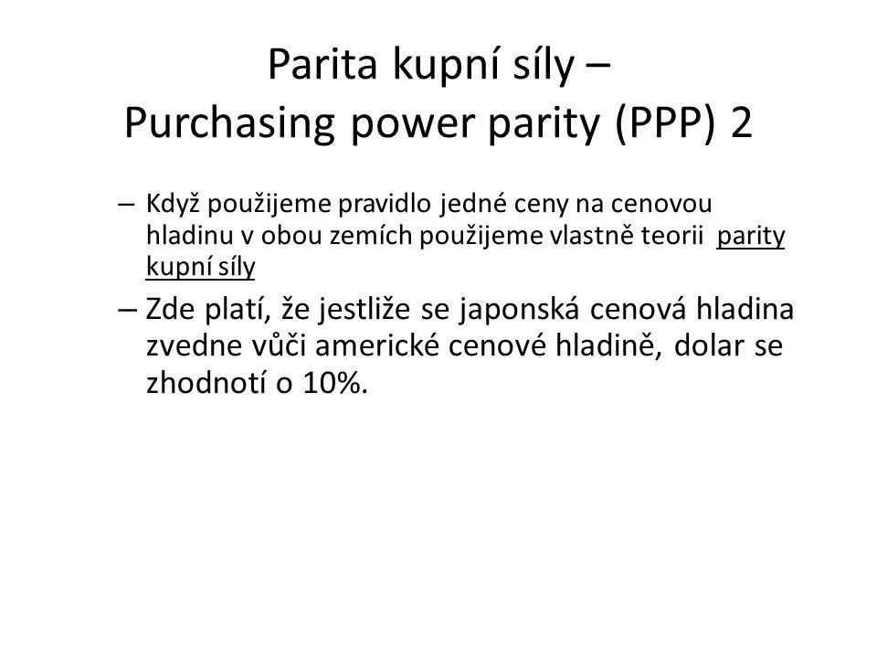 Parita kupní síly – Purchasing power parity (PPP) 2 – Když použijeme pravidlo jedné ceny na cenovou hladinu v obou zemích použijeme vlastně teorii par