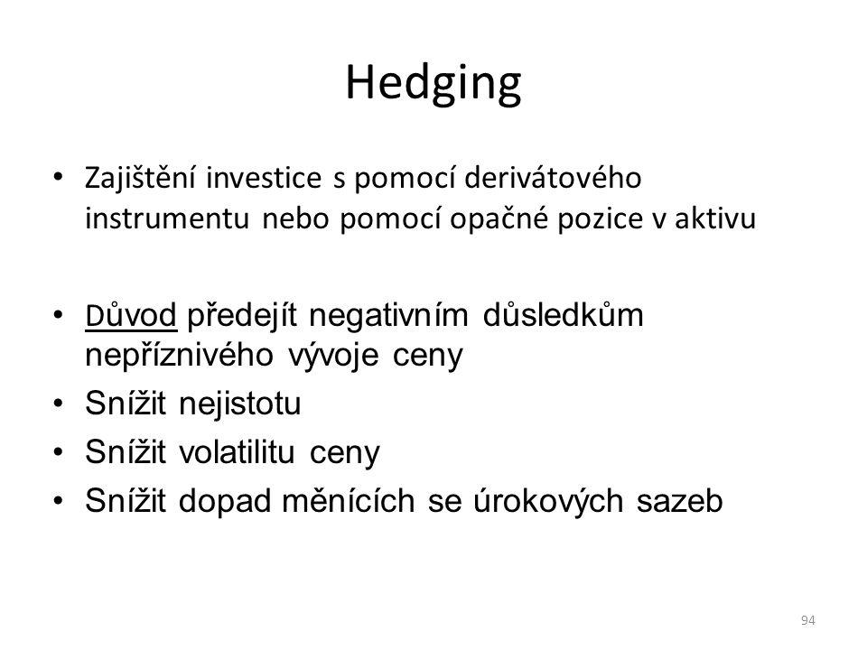 94 Hedging Zajištění investice s pomocí derivátového instrumentu nebo pomocí opačné pozice v aktivu D ůvod předejít negativním důsledkům nepříznivého