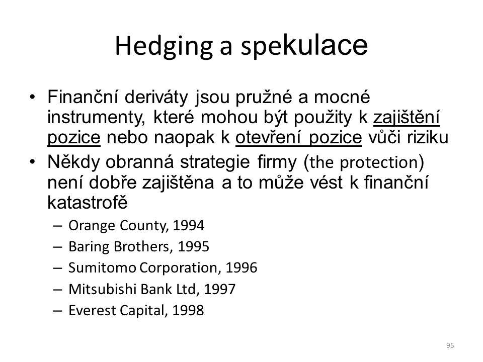 95 Hedging a spe kulace Finanční deriváty jsou pružné a mocné instrumenty, které mohou být použity k zajištění pozice nebo naopak k otevření pozice vů