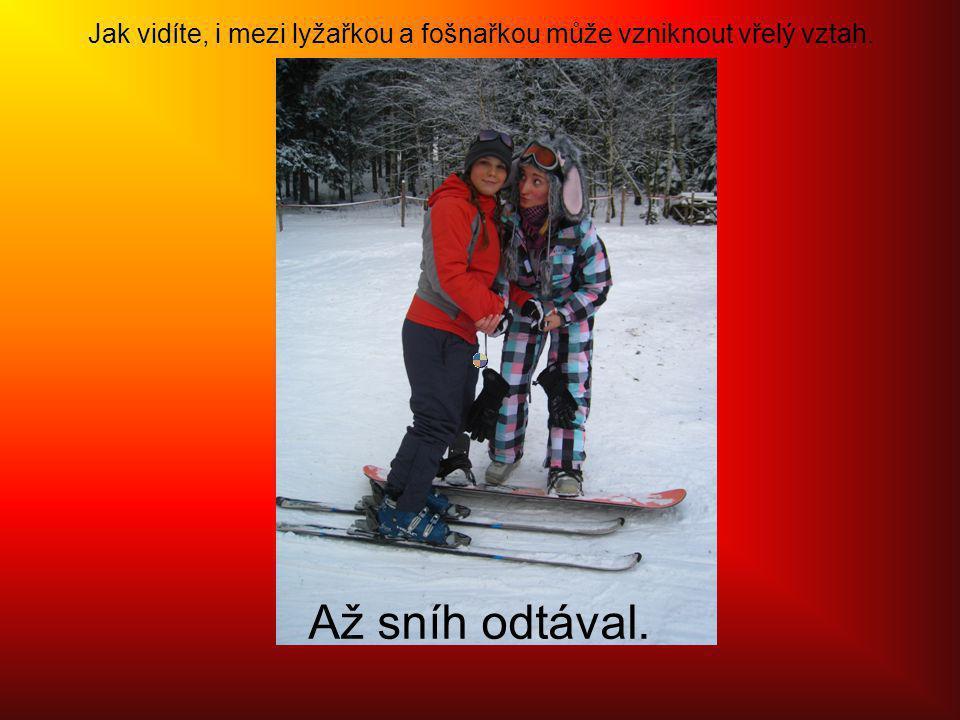 Jak vidíte, i mezi lyžařkou a fošnařkou může vzniknout vřelý vztah. Až sníh odtával.