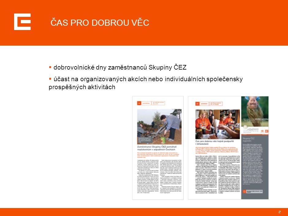 2 ČAS PRO DOBROU VĚC  dobrovolnické dny zaměstnanců Skupiny ČEZ  účast na organizovaných akcích nebo individuálních společensky prospěšných aktivitá