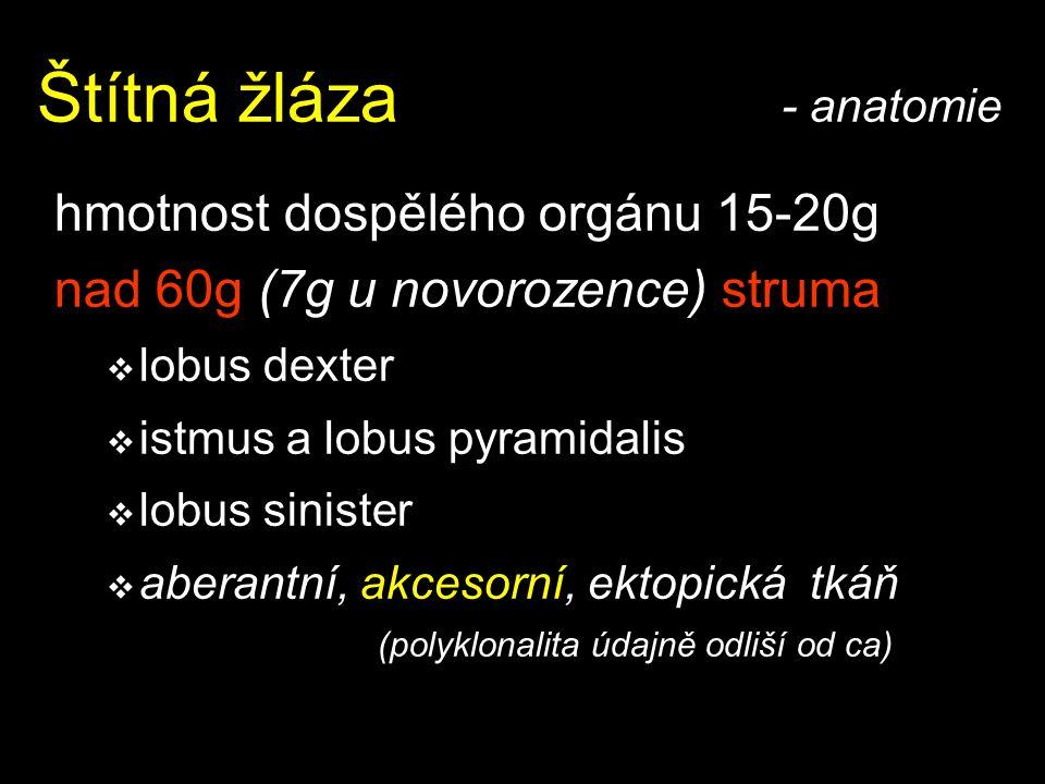 Štítná žláza - anatomie hmotnost dospělého orgánu 15-20g nad 60g (7g u novorozence) struma  lobus dexter  istmus a lobus pyramidalis  lobus siniste