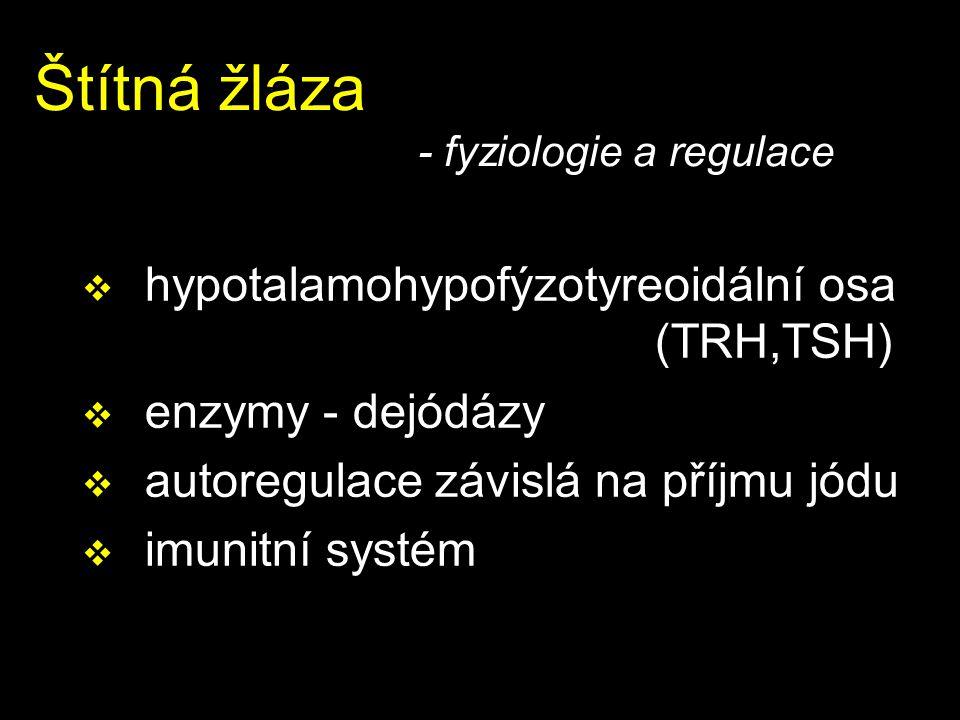 Štítná žláza - fyziologie a regulace  hypotalamohypofýzotyreoidální osa (TRH,TSH)  enzymy - dejódázy  autoregulace závislá na příjmu jódu  imunitn