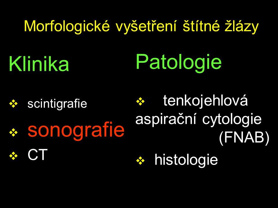 Morfologické vyšetření štítné žlázy Klinika  scintigrafie  sonografie  CT Patologie  tenkojehlová aspirační cytologie (FNAB)  histologie