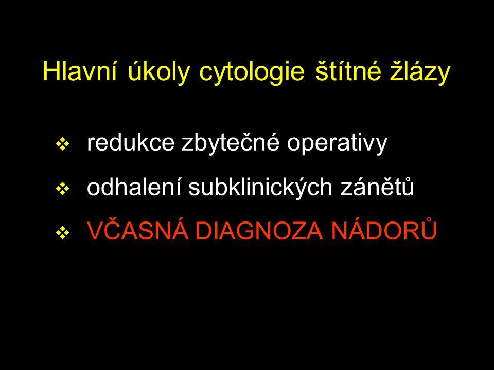 Hlavní úkoly cytologie štítné žlázy  redukce zbytečné operativy  odhalení subklinických zánětů  VČASNÁ DIAGNOZA NÁDORŮ