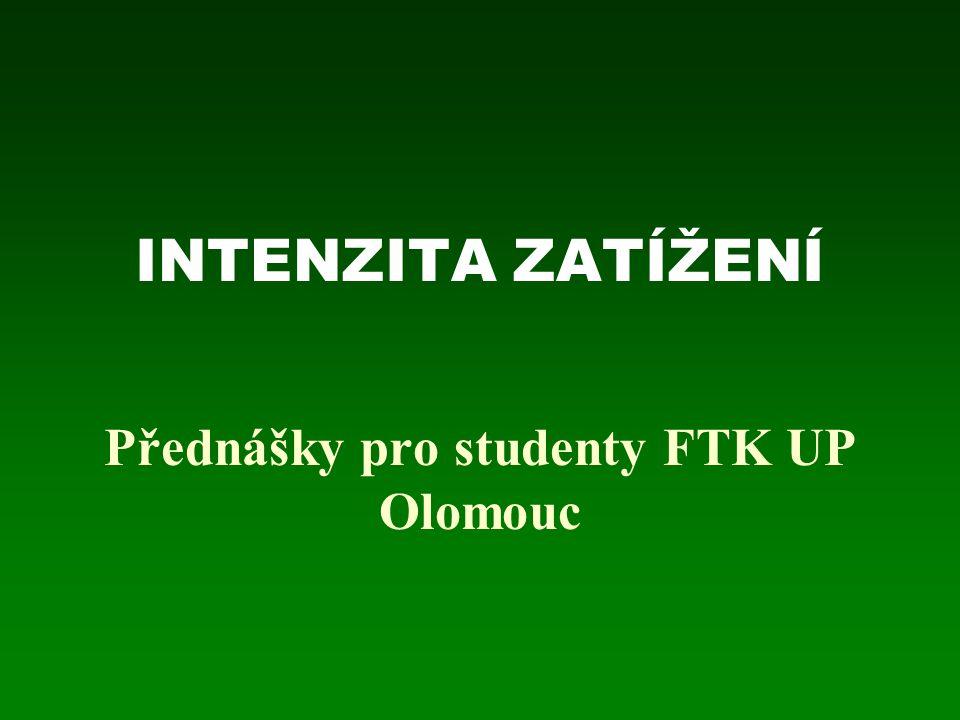 INTENZITA ZATÍŽENÍ Přednášky pro studenty FTK UP Olomouc