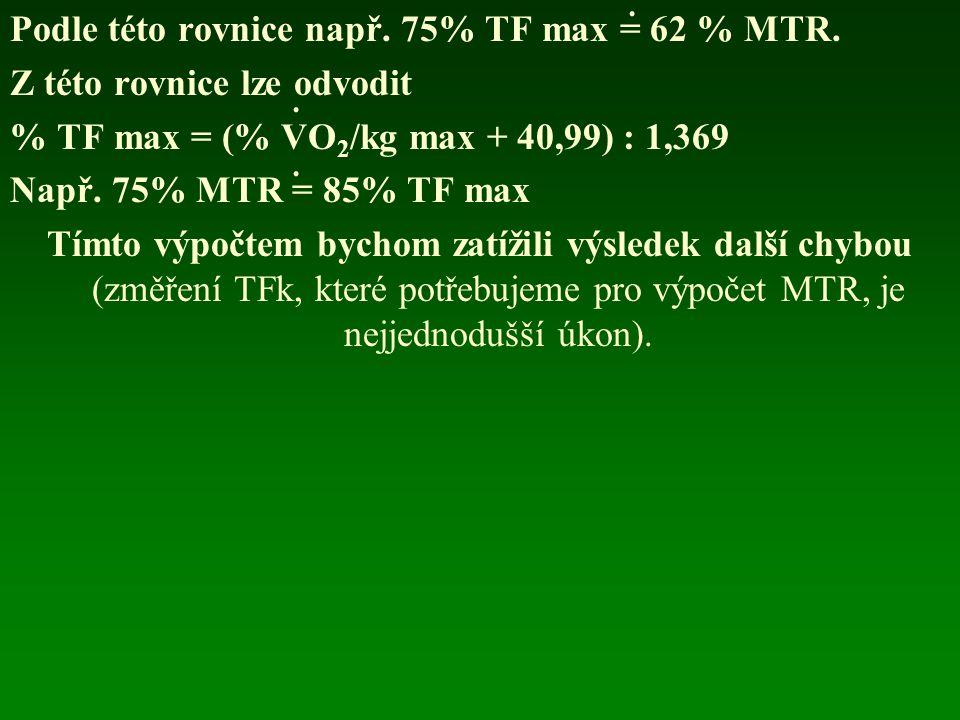 Podle této rovnice např. 75% TF max = 62 % MTR. Z této rovnice lze odvodit % TF max = (% VO 2 /kg max + 40,99) : 1,369 Např. 75% MTR = 85% TF max Tímt