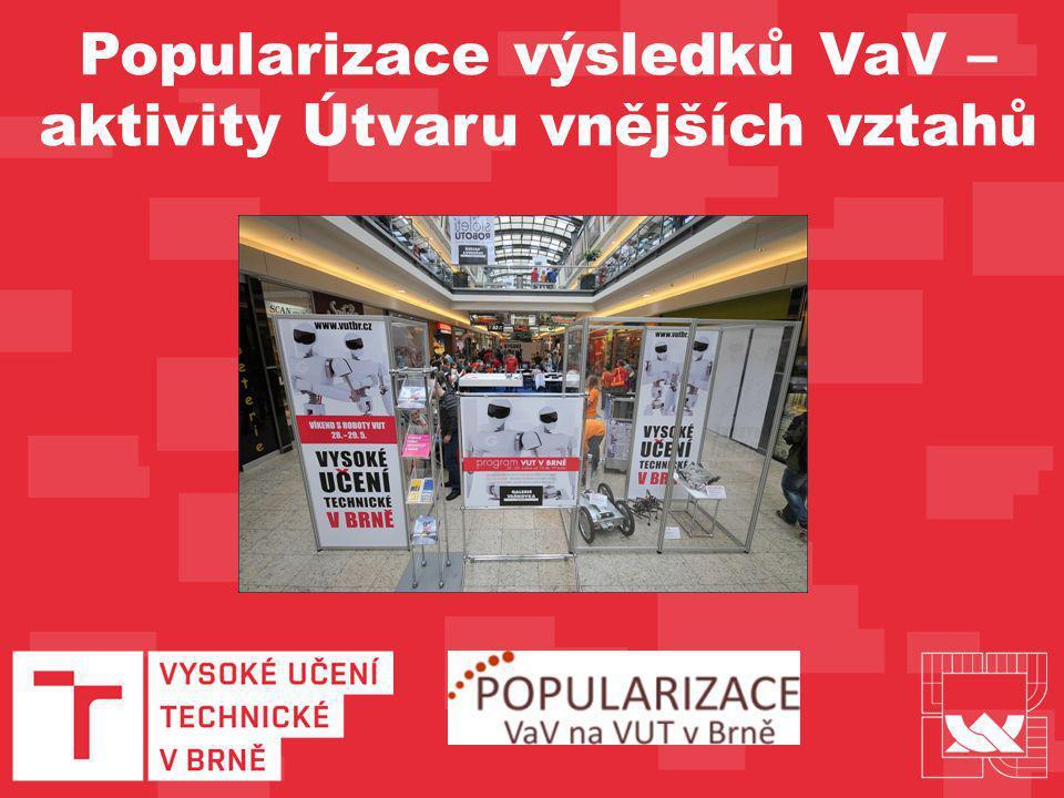 Koordinace účasti VUT v Brně na oborových veletrzích (MSV, IDET) Koordinace účasti VUT v Brně na Festivalu vědy s Jihomoravskou plynárenskou Pojďme si hrát s technikou Koordinace účasti 7 univerzit Prezentace na festivalech Čarodějáles, Majáles Projekt Naturtech Geocaching Roboti ve Vaňkovce (květen 2011) Univerzitní Majáles ve Vaňkovce (duben 2010) Realizované akce