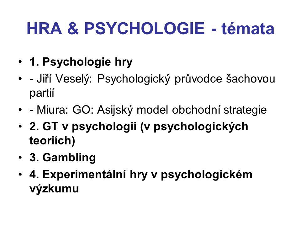 HRA & PSYCHOLOGIE - témata 1. Psychologie hry - Jiří Veselý: Psychologický průvodce šachovou partií - Miura: GO: Asijský model obchodní strategie 2. G