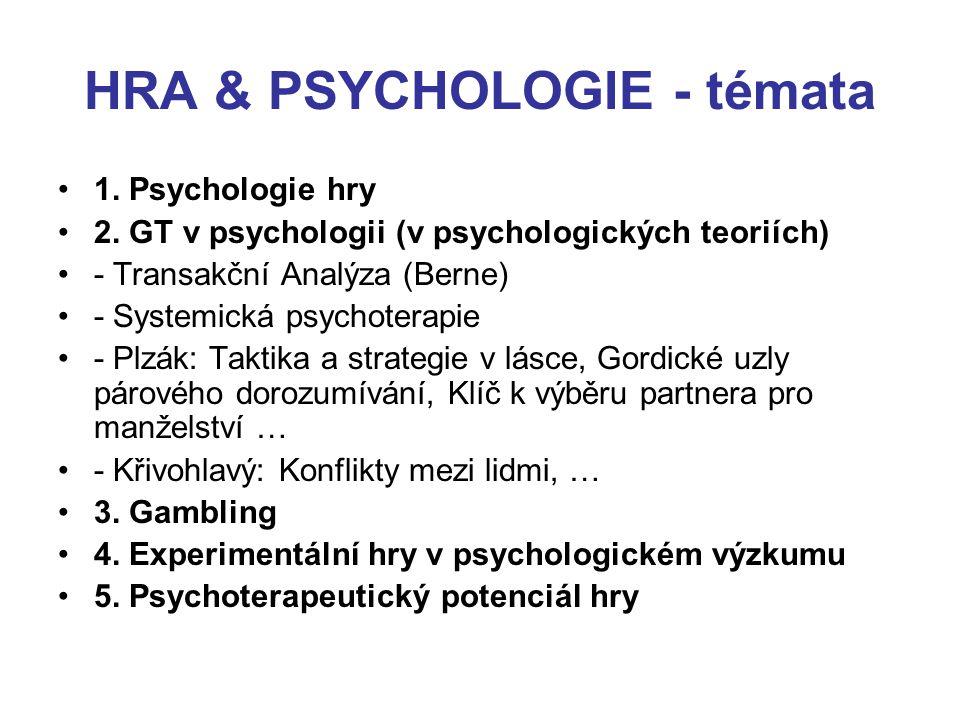 HRA & PSYCHOLOGIE - témata 1. Psychologie hry 2. GT v psychologii (v psychologických teoriích) - Transakční Analýza (Berne) - Systemická psychoterapie
