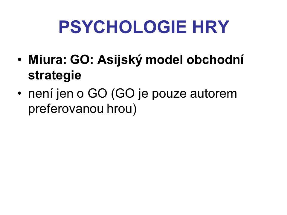 PSYCHOLOGIE HRY Miura: GO: Asijský model obchodní strategie není jen o GO (GO je pouze autorem preferovanou hrou)