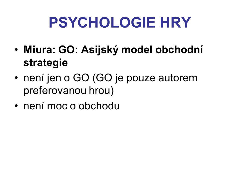 PSYCHOLOGIE HRY Miura: GO: Asijský model obchodní strategie není jen o GO (GO je pouze autorem preferovanou hrou) není moc o obchodu
