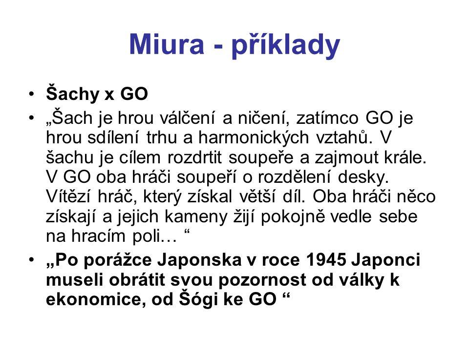 """Miura - příklady Šachy x GO """"Šach je hrou válčení a ničení, zatímco GO je hrou sdílení trhu a harmonických vztahů. V šachu je cílem rozdrtit soupeře a"""