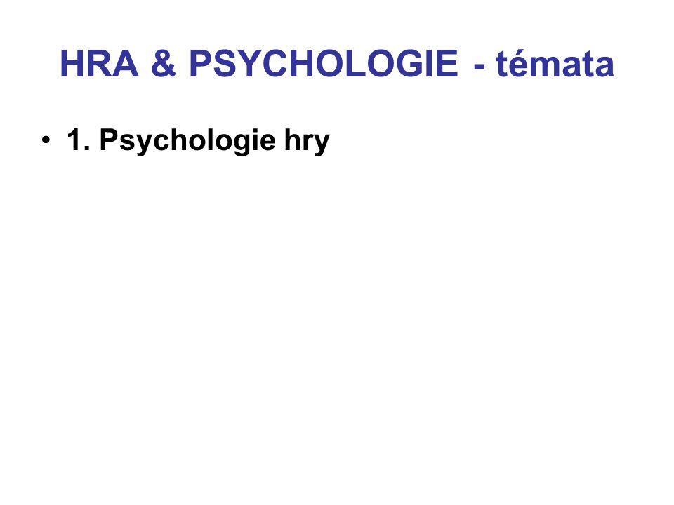 HRA & PSYCHOLOGIE - témata 1. Psychologie hry 2. GT v psychologii