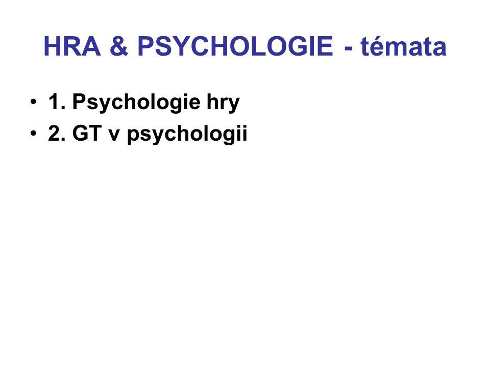 HRA & PSYCHOLOGIE - témata 1. Psychologie hry 2. GT v psychologii (v psychologických teoriích)