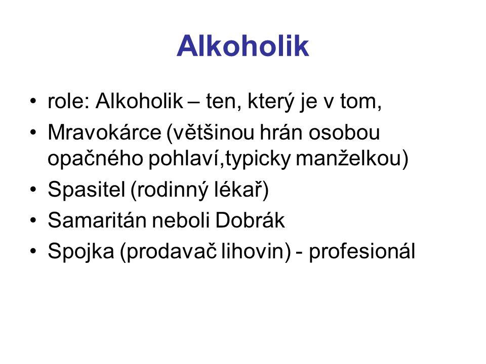 Alkoholik role: Alkoholik – ten, který je v tom, Mravokárce (většinou hrán osobou opačného pohlaví,typicky manželkou) Spasitel (rodinný lékař) Samarit