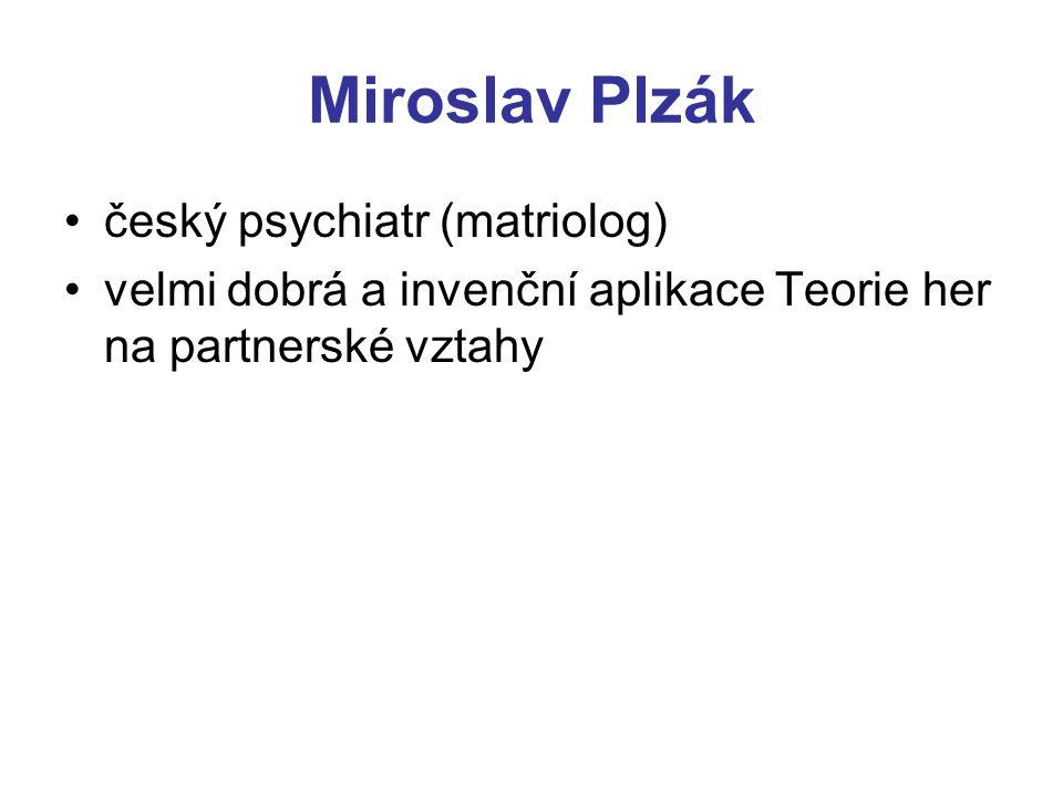 Miroslav Plzák český psychiatr (matriolog) velmi dobrá a invenční aplikace Teorie her na partnerské vztahy