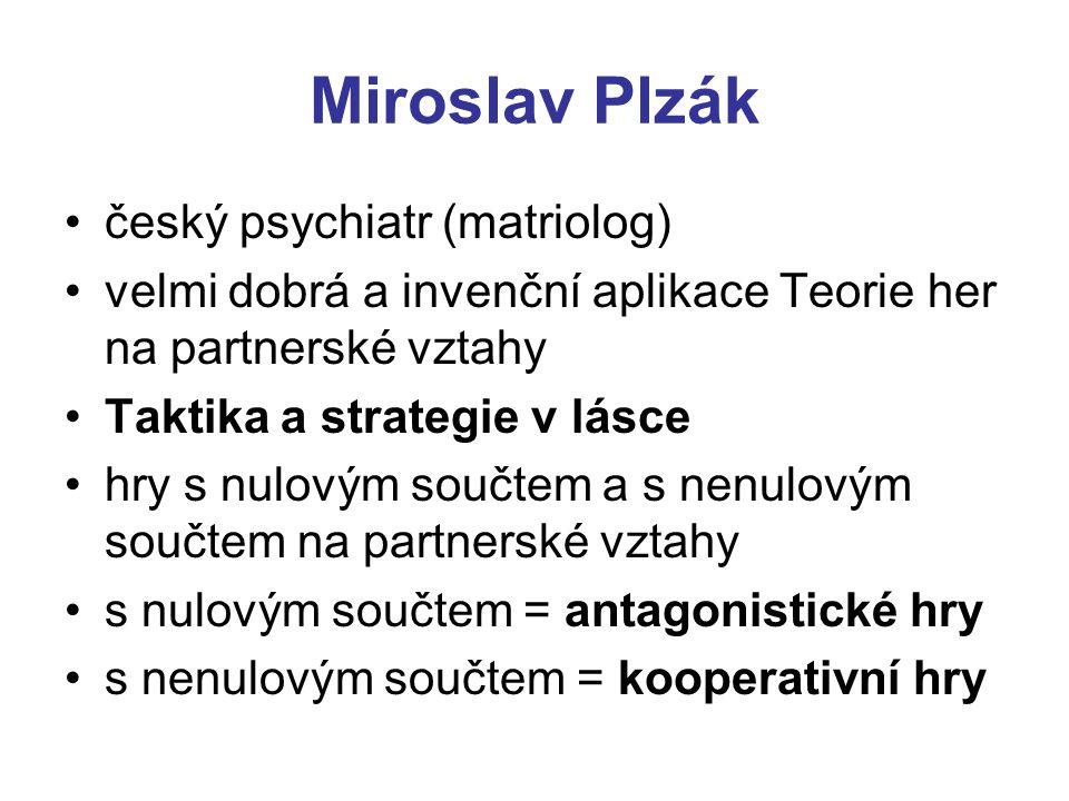 Miroslav Plzák český psychiatr (matriolog) velmi dobrá a invenční aplikace Teorie her na partnerské vztahy Taktika a strategie v lásce hry s nulovým s
