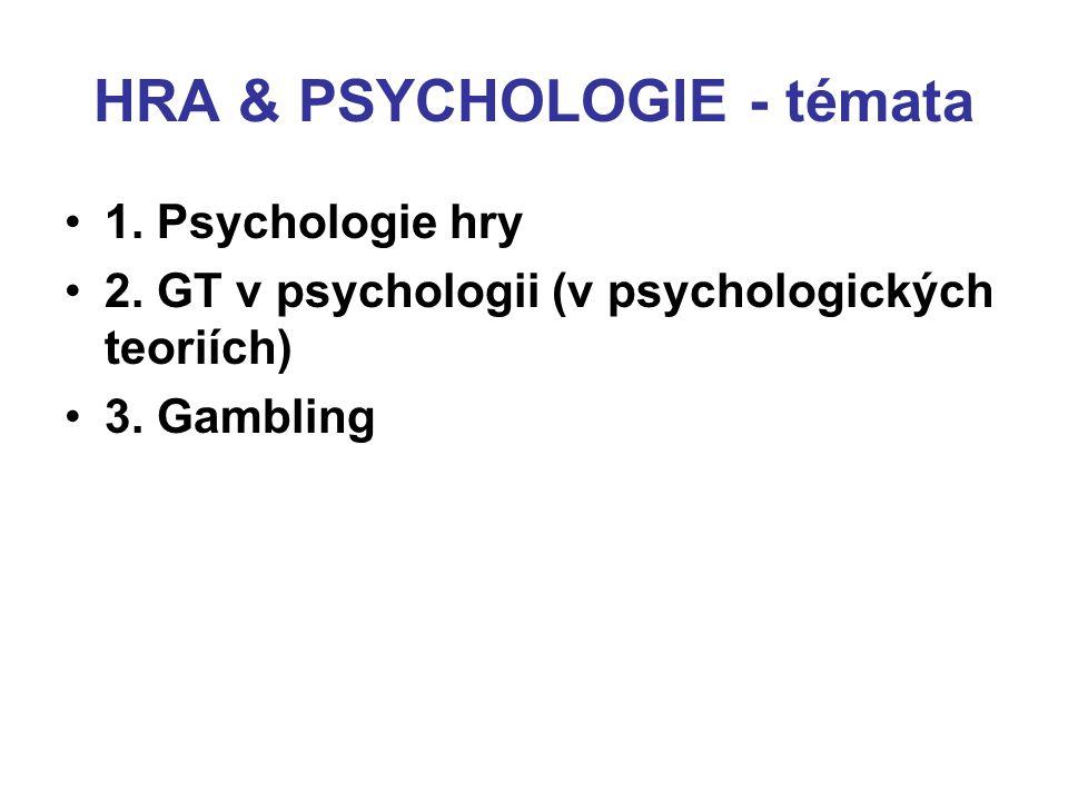 HRA & PSYCHOLOGIE - témata 1. Psychologie hry 2. GT v psychologii (v psychologických teoriích) 3. Gambling