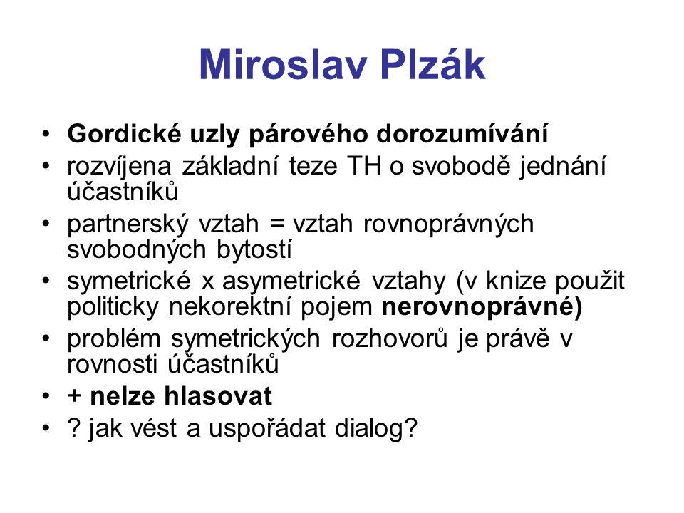 Miroslav Plzák Gordické uzly párového dorozumívání rozvíjena základní teze TH o svobodě jednání účastníků partnerský vztah = vztah rovnoprávných svobo