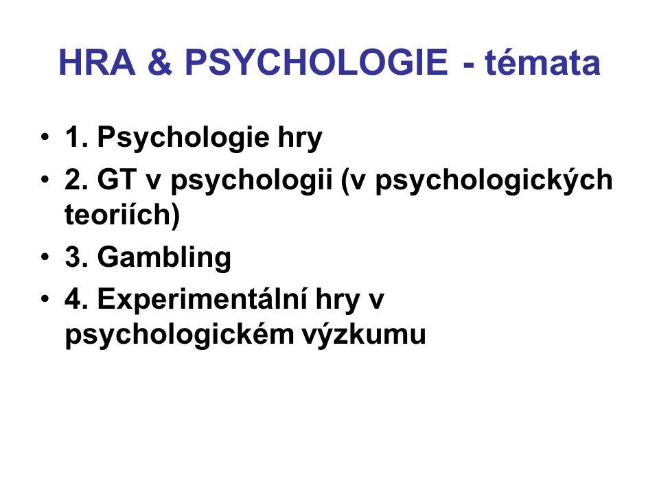 HRA & PSYCHOLOGIE - témata 1. Psychologie hry 2. GT v psychologii (v psychologických teoriích) 3. Gambling 4. Experimentální hry v psychologickém výzk