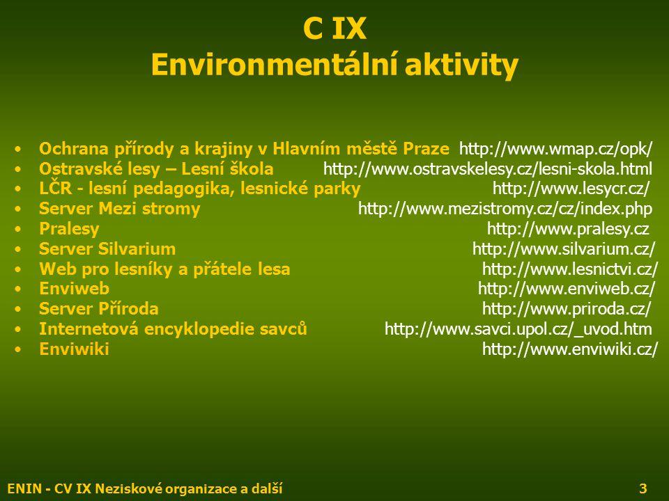 ENIN - CV IX Neziskové organizace a další3 C IX Environmentální aktivity Ochrana přírody a krajiny v Hlavním městě Praze http://www.wmap.cz/opk/ Ostra