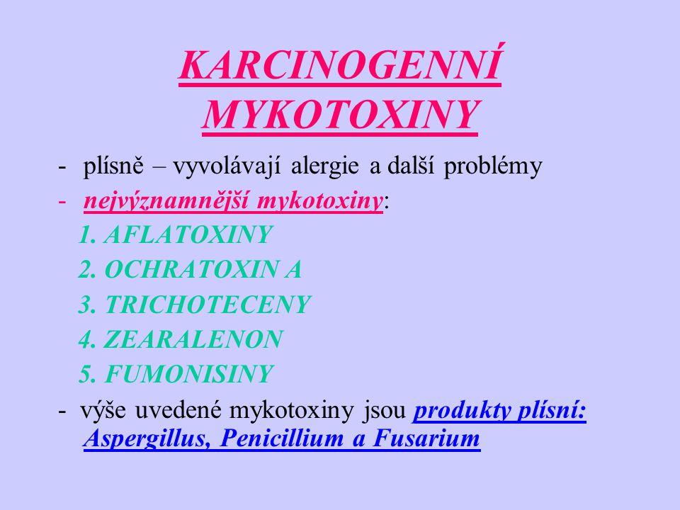 KARCINOGENNÍ MYKOTOXINY -plísně – vyvolávají alergie a další problémy -nejvýznamnější mykotoxiny: 1. AFLATOXINY 2. OCHRATOXIN A 3. TRICHOTECENY 4. ZEA
