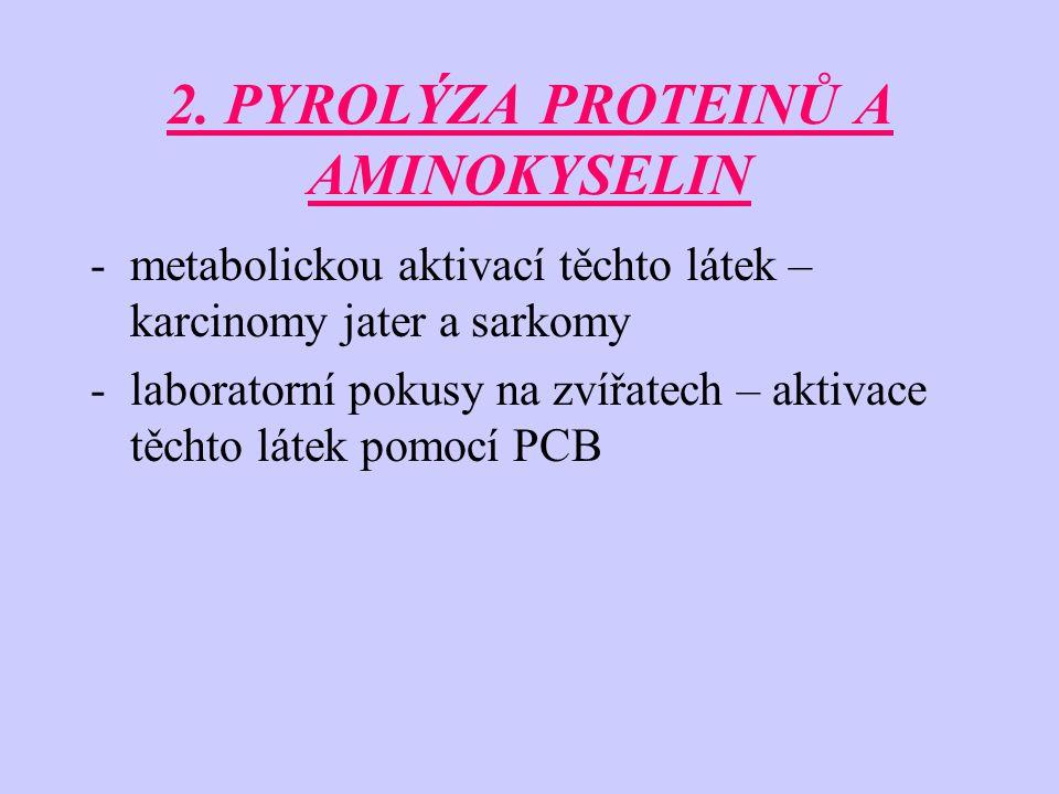 2. PYROLÝZA PROTEINŮ A AMINOKYSELIN -metabolickou aktivací těchto látek – karcinomy jater a sarkomy -laboratorní pokusy na zvířatech – aktivace těchto