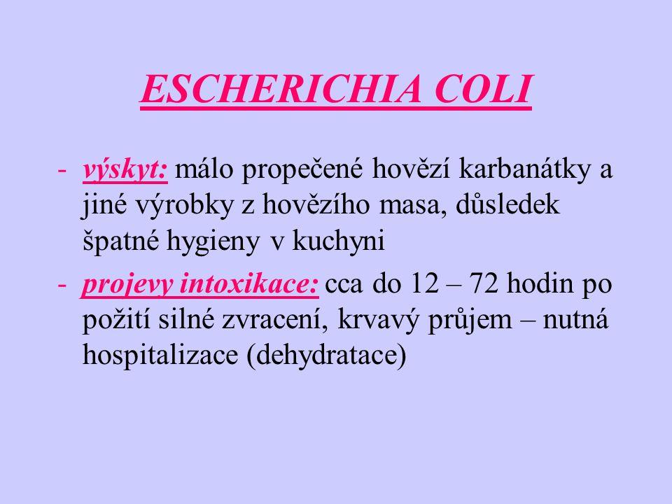 -výskyt: málo propečené hovězí karbanátky a jiné výrobky z hovězího masa, důsledek špatné hygieny v kuchyni -projevy intoxikace: cca do 12 – 72 hodin