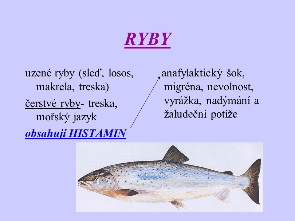 RYBY uzené ryby (sleď, losos, makrela, treska) čerstvé ryby- treska, mořský jazyk obsahují HISTAMIN anafylaktický šok, migréna, nevolnost, vyrážka, na