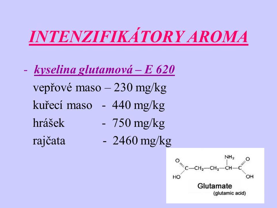INTENZIFIKÁTORY AROMA -kyselina glutamová – E 620 vepřové maso – 230 mg/kg kuřecí maso - 440 mg/kg hrášek - 750 mg/kg rajčata - 2460 mg/kg