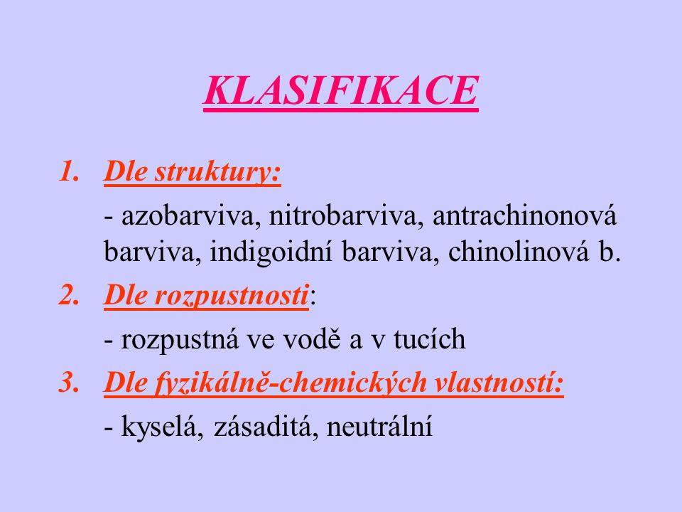 KLASIFIKACE 1.Dle struktury: - azobarviva, nitrobarviva, antrachinonová barviva, indigoidní barviva, chinolinová b. 2.Dle rozpustnosti: - rozpustná ve